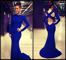 2016 Sexy robe de soiree Evening Gowns High Neck Long Sleeve Criss Cross Backless Royal Blue Mermaid Prom Dresses Custom made(China (Mainland))