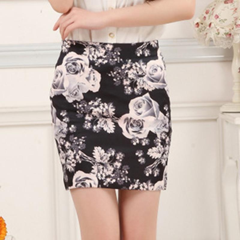 Гаджет  Womens High Waist Mini Skirt Cotton Stretch Plain Floral Pencil Short Dress None Одежда и аксессуары