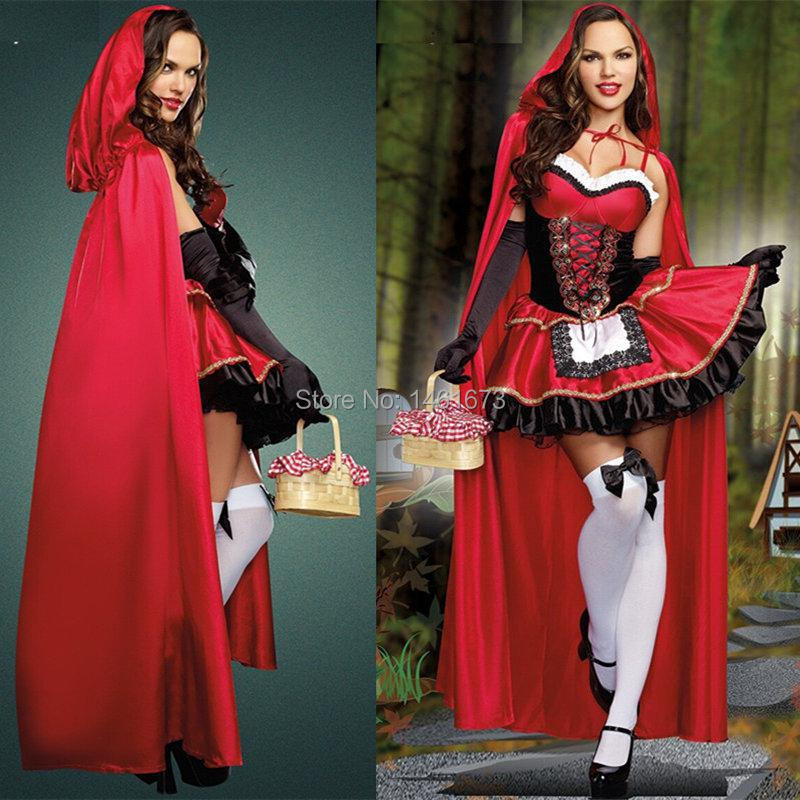 Fantasy christmas costumes cotton sleeveless little red riding hood