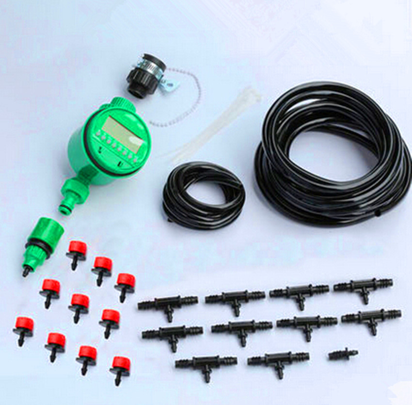20m Tubing 20pcs Red Automatic Adjustable Watering Kits With Water Timer For Garden Micro Drip Irrigation SY12008(China (Mainland))