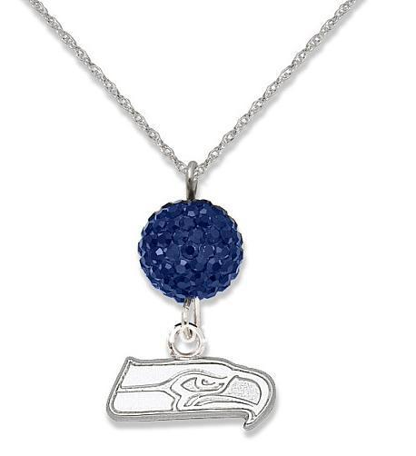 rhodium plated Seattle Seahawks Rugby pendant necklaces with crystal beads 30pcs a lot(China (Mainland))