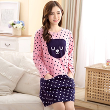 3 color nightgowns women new cute Princess cotton long-sleeved summer spring cartoon Sleepshirts