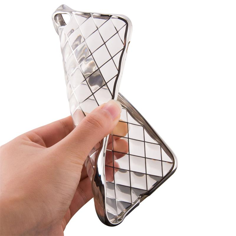 Luxury clear crystal plating 3D grid skin Case for iphone 6 plus 6s 6g 6 SE 5S 5G 5 shock proof soft TPU back cover gel case(China (Mainland))