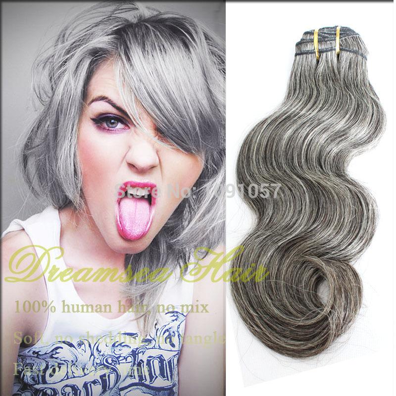 Wholesale Brazilian Human Gray Hair Weave for White Women 3pcs Lot Free Shipping Body Wave Virgin Hair Extension(China (Mainland))
