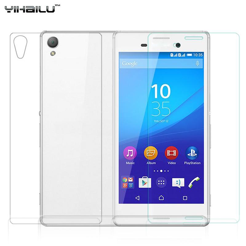 Original Yihailu 2pcs lot Front and Back For Sony Xperia M4 Aqua Premium Tempered Glass Screen