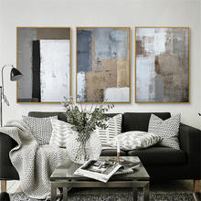 HAOCHU Trittico Nordic Bianco Nero Grigio Piazza Immagine Moderna Poster Dipinto A Mano Su Tela Wall Art for Living Room Decor(China)