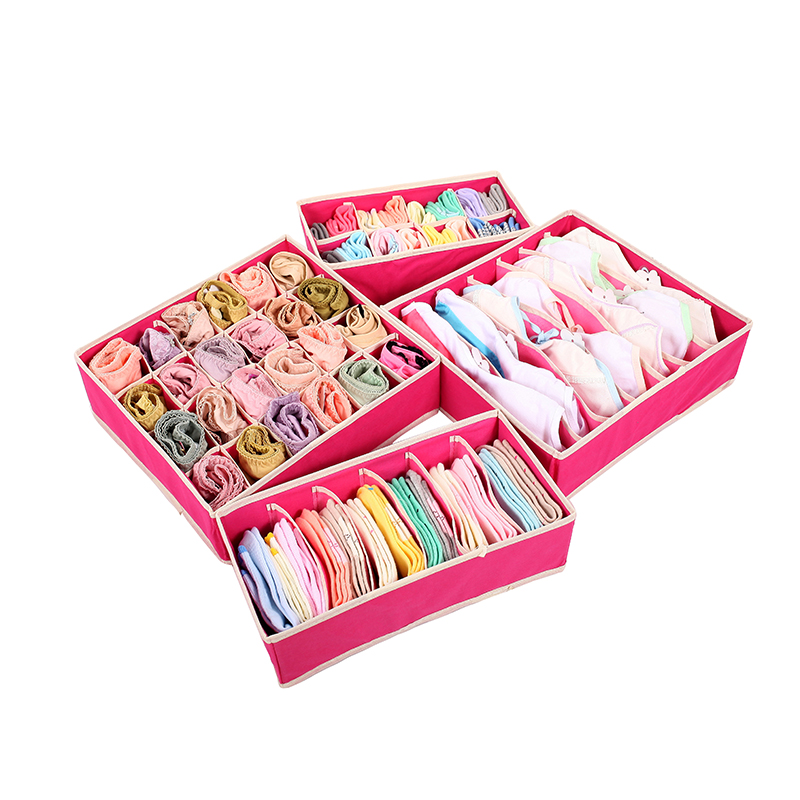4 pcs/Set Foldable Divider Storage Bra Box Non-woven Fabric Folding Cases Necktie Socks Underwear Clothing Organizer Container(China (Mainland))