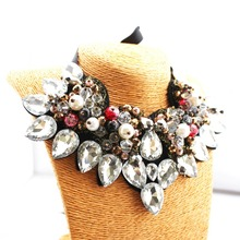 2016New design Brand Ribbon Chain Rhinestone Necklace Unique Statement Necklace For Women Jewelry