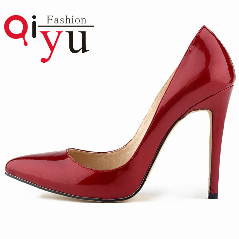 2016 New Arrival Zapatos Mujer Shallow Mouth Women Single Shoes Pumps Ladies Thin High Heels Pumps Patent Leather Plus Size 42