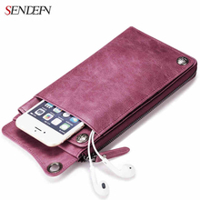 SENDEFN Genuine Leather Women Wallet Lady Clutch Zipper Phone Pocket Purse Female Wallet Designed for Couples(China (Mainland))