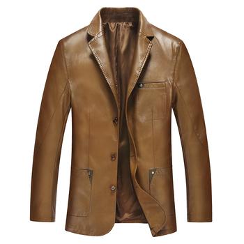 Мода костюм воротник мужские кожаные куртки и пальто мужской кожи и замши тонкая ...