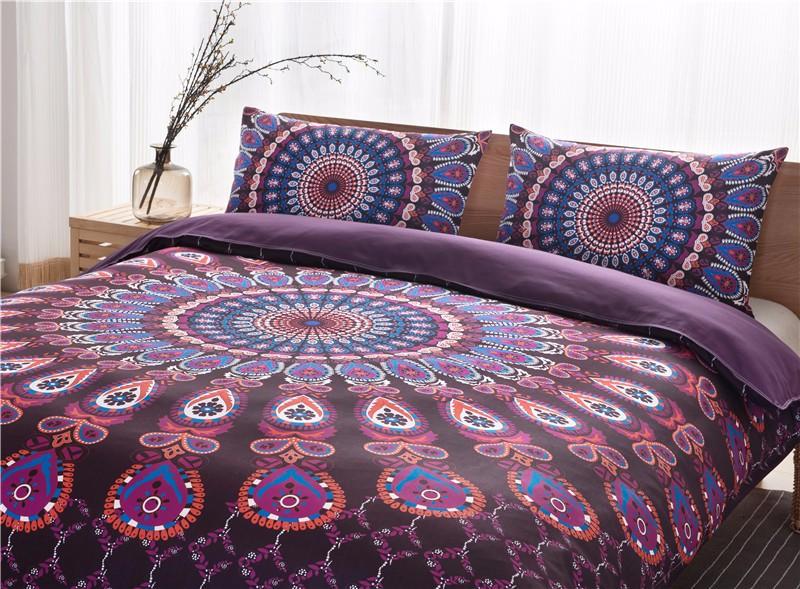 Bohemian Queen Size Duvet Cover Set Black White Purple