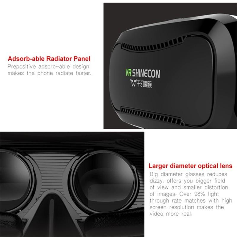 ถูก Shinecon VR 2.0แว่นตา3Dเสมือนจริงชุดหูฟังที่สมจริงหมวกกันน็อคvrกล่องหัวหน้าภูเขาสำหรับ4.5-6.0 'phonesสำหรับiphone samsung htc