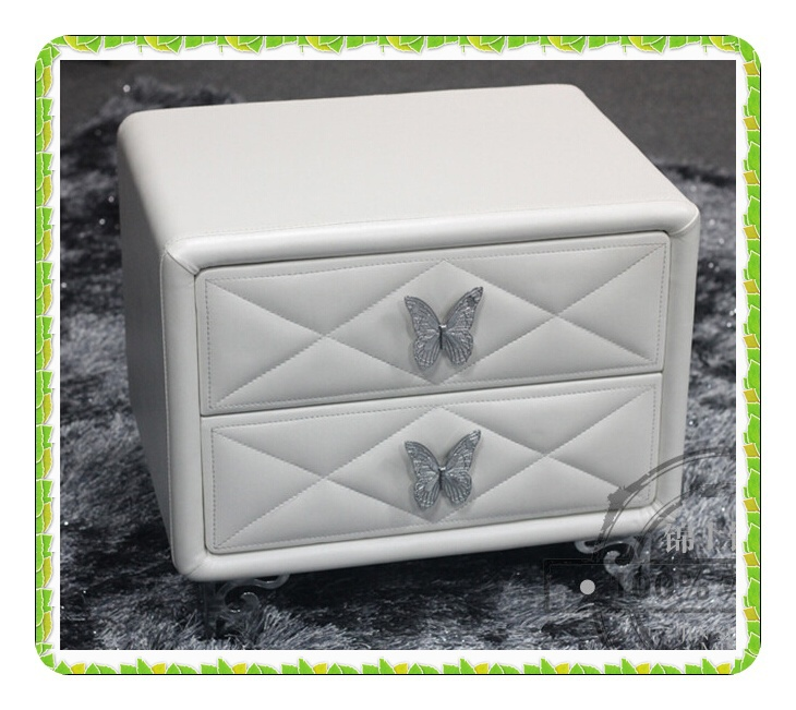 White leather bedside tables butterfly handls bedroom furnitures hot selling(China (Mainland))