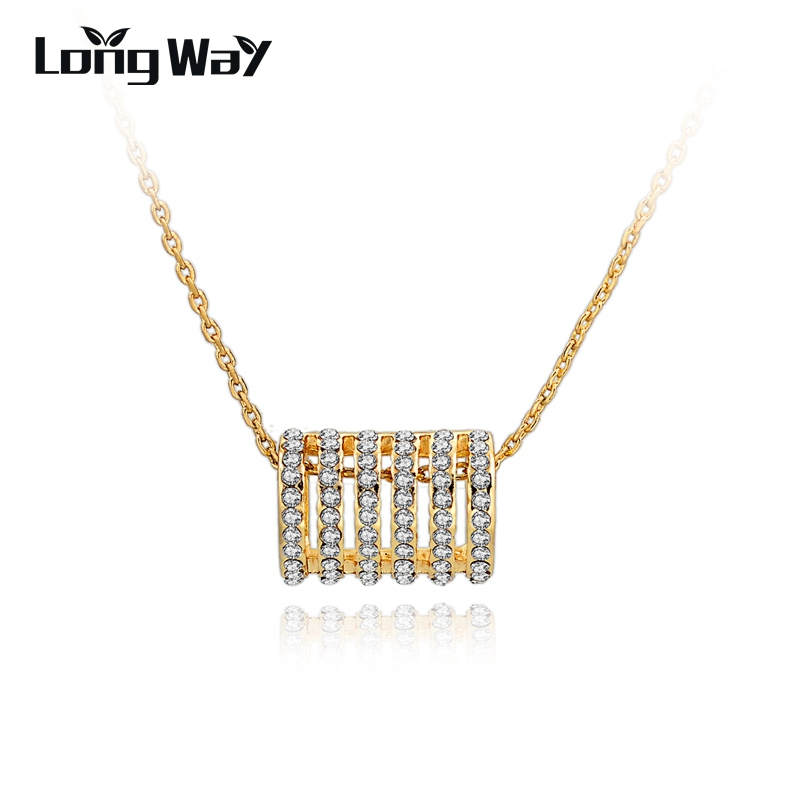 LongWay 2016 Fashion Gold Chain Collor Necklaces Pendants With Crystal Statement Necklaces For Women Collares Mujer SNE150893103(China (Mainland))