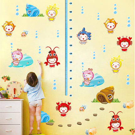 Colored underwater world of fish measured height kids room wall stickers baby nursery bedroom living room sofa TV background(China (Mainland))