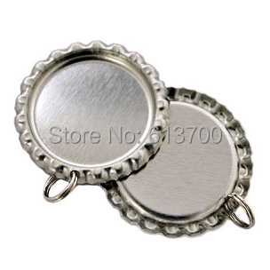 Sliver Both Side Colored Flattened Bottle Caps For Crafts Jewelry Metal Crown Cap Dome Beer Cap Flat BottleCaps With Hole Rings(China (Mainland))