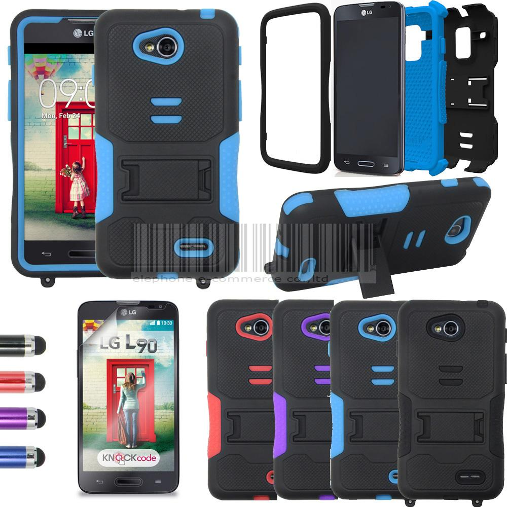 3in1 For LG Optimus L90 D410 D415 Hybrid Tri-Layer Tuff Armor Case+stylus+3X Flim Stand Shockproof Cover Skin(China (Mainland))