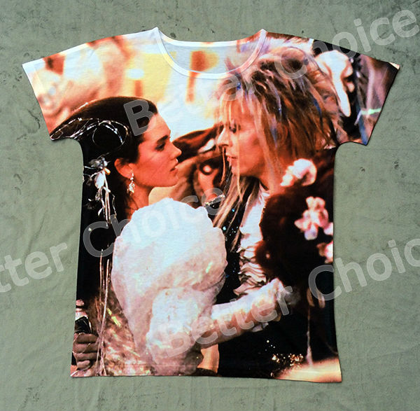 Track Ship+New Vintage Retro T-shirt Top Tee Movie Labyrinth Jennifer Connelly Dancing Party with Handsome Prince 0755(Hong Kong)