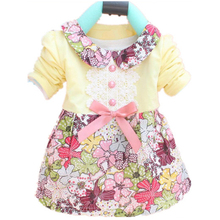 Toddler Baby Girls Floral Princess Dress Bow One Piece Kids Dress 0-2Y L07(China (Mainland))