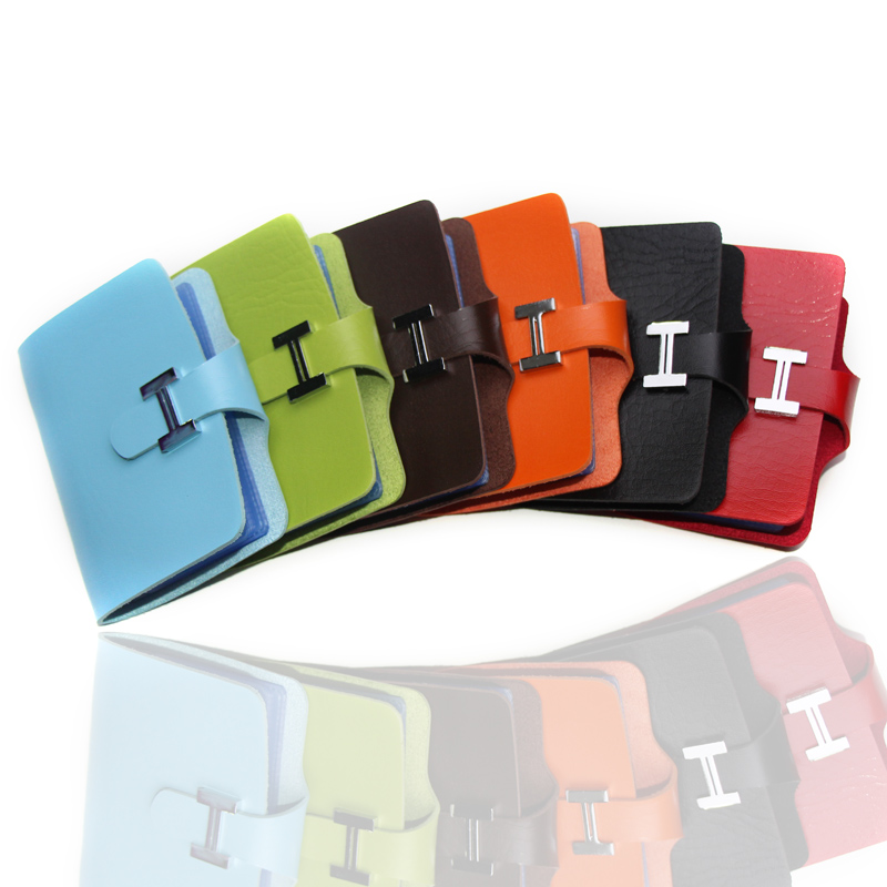 Fashion 24 Slots 7 colors Patent Leather Strap Buckle Hasp Business VIP ID Holds Bank Package Credit Card Holder Free Shipping(China (Mainland))