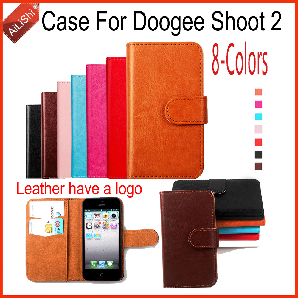 AiLiShi New Arrive Wallet Protective Cover Skin Luxury PU Leather Case Book Flip Doogee Shoot 2 Case 8-Colors Factory
