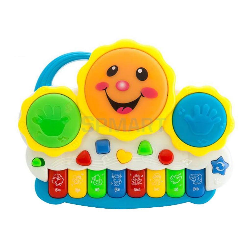 Electronic Keyboard Pat Drum Toy With Flashing Lights Mini Battery Operated Musical Early Educational Piano Toy Multicolored(China (Mainland))