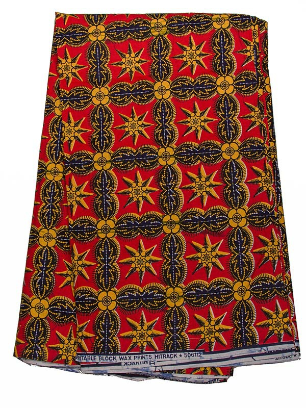 African Cotton Fabric Real Wax Red Yellow Stars Pattern For Wedding rw506112(China (Mainland))