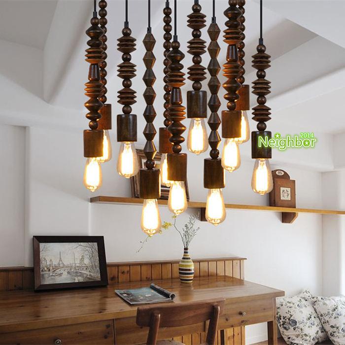 Retro loft wooden beaded pendant light hanging lamp study for Living room hanging lights
