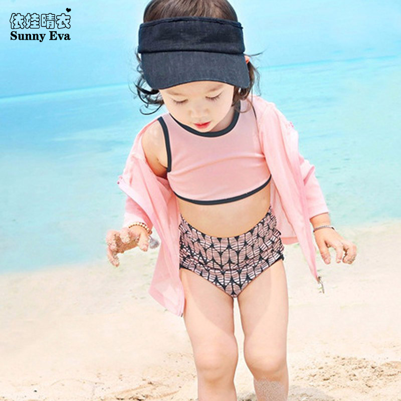 sunny eva girls two pieces swimsuit outer long sleeve jackets Swimsuit girls two pieces tankini bathing suits high waist bikini(China (Mainland))