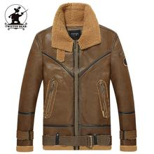 New Men's Air Force One Pilot B3 Fur Leather Jacket winter Designer fur Thick Retro Casual Motorcycle Jacket coat Men DB1F2212(China (Mainland))