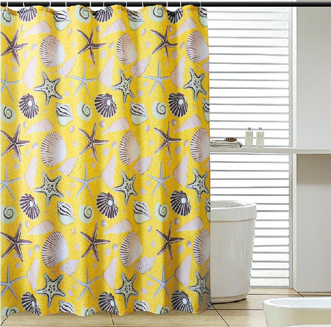 180 cm *180 cm Glam Bright Yellow Star Fish Seashell Shower Curtains Home Bath Decorative Clear Curtains With Free Hooks(China (Mainland))