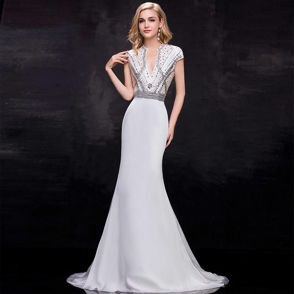 long sleeve white evening dress   Gommap Blog