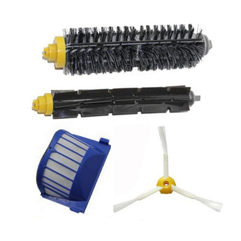 High Quality 1 Blue AeroVac Filter + 1 set main Brush kit +1 Side Brush for iRobot Roomba 600 Series 610 620 630 650 660(China (Mainland))