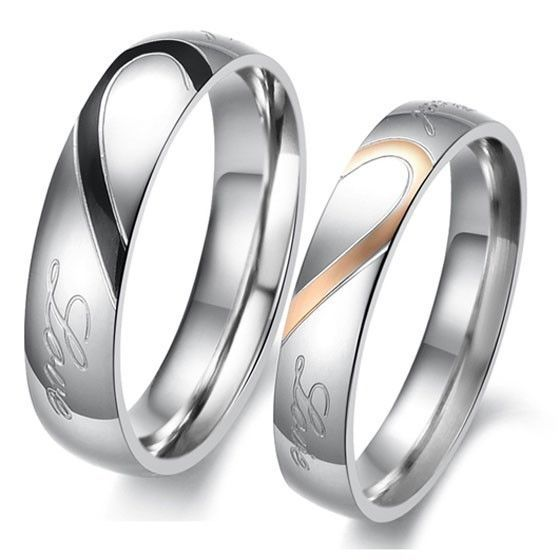 2015 Hot Couple Heart Shape Matching Stainless Steel Lovers Promise Wedding Bands Ring High Quality Free