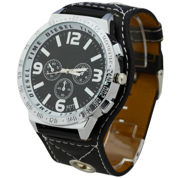 Мужская большой циферблат черный аналоговый дисплей кварцевый механизм способ роскошными нежный мужская кожаный ремешок кварцевые наручные часы часы