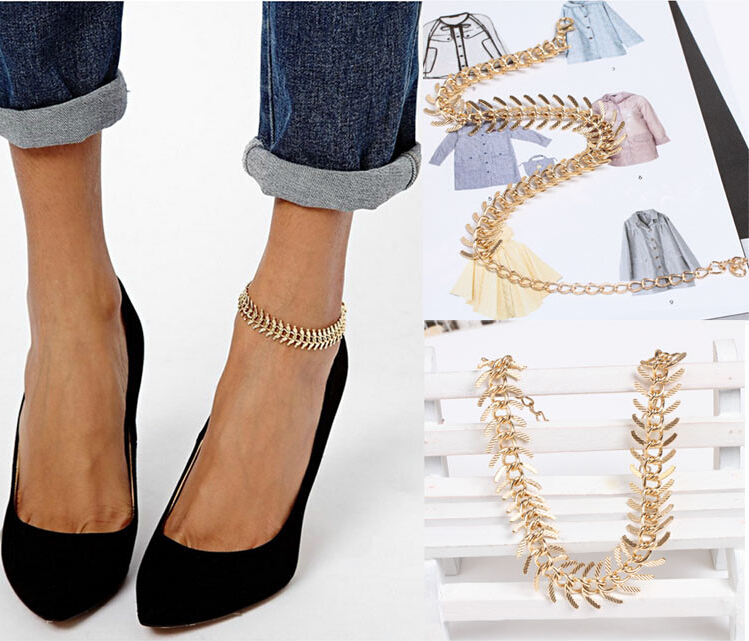 New Fashion Foot Jewelry Chain Link Anklets Women Girl Gold Plated For Parties Anklet Bracelets Free