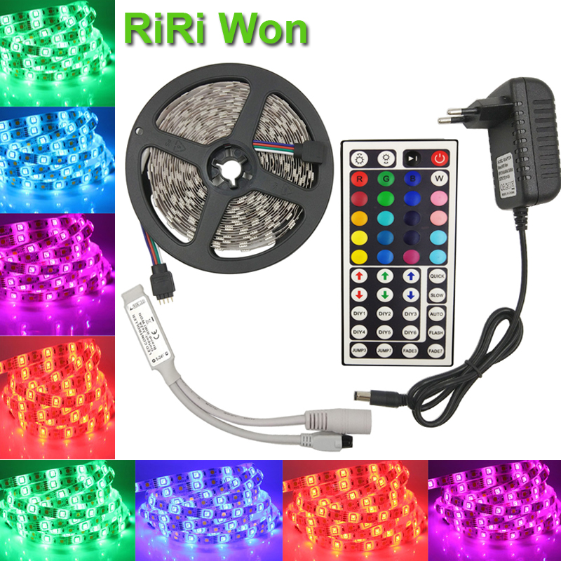 5050 RGB LED Strip Light 4M 5M 30LEDS/M SMD Diode Tape flexible led Ribbon With Remote Controller dc 12V Power Adapter strip kit(China (Mainland))