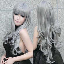 """32"""" 80cm Long Grey Wavy Wigs Gray Woemn Sexy Lolita Cosplay Wig Costume Party Wig For Halloween Christmas Party Peruca Pelucas(China (Mainland))"""