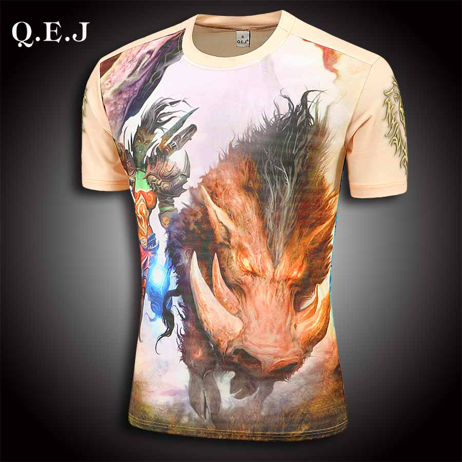 brand-clothing Q.E.J New 2016 justin bieber High stretch fabric pokemon go 3d t shirt pokemon shirt large size(China (Mainland))