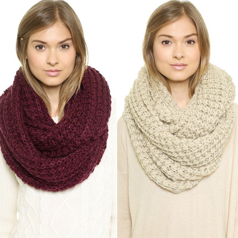 New winter thick knitted scarf wound personalized four color set of head scarves soft haoduoyi