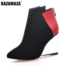 Buy Women Pointed Toe Real Genuine Leather Ankle Boots Wedges Transparent Heeled Shoes Woman Zipper Heeled Shoes Size 34-39 for $65.99 in AliExpress store