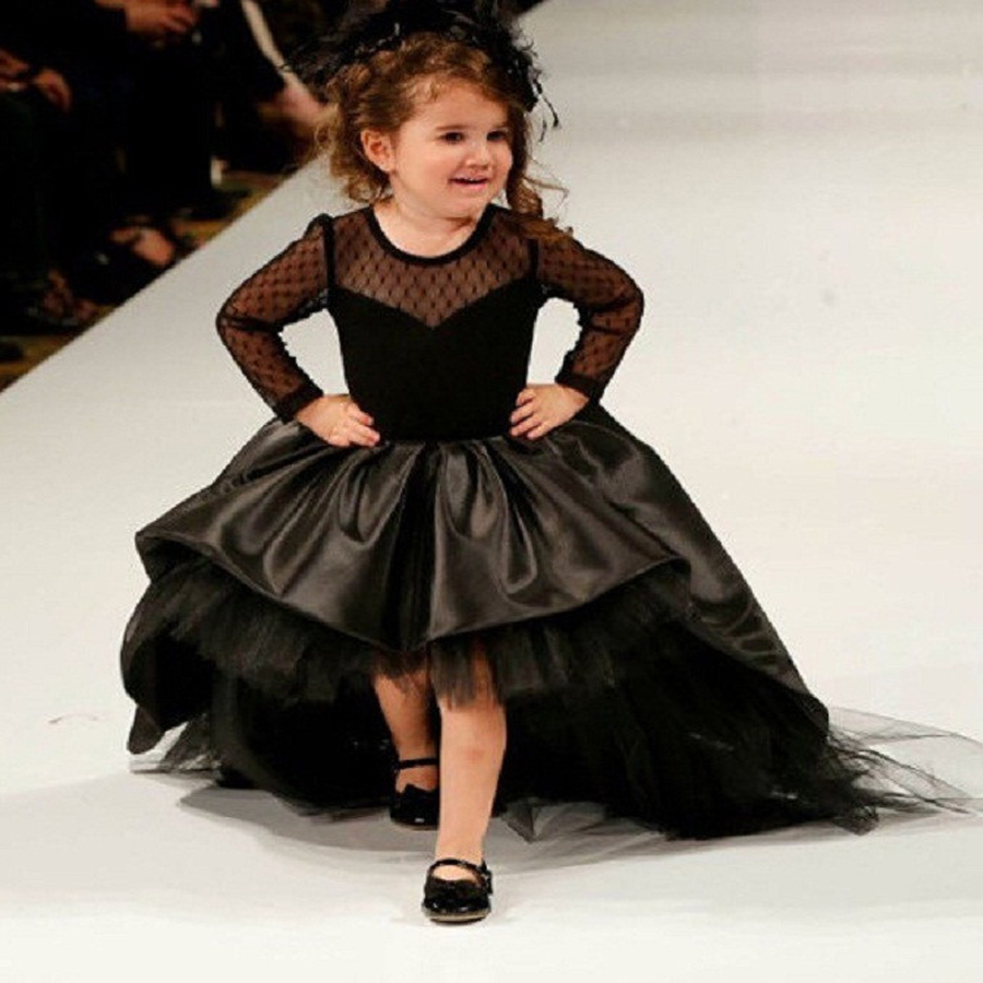 2016 black flower girl dresses high low scoop long sleeves for Wedding party dresses for girl