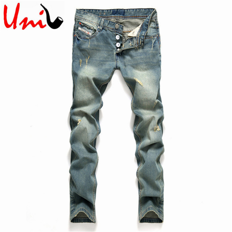 Modern European Style Big Size 2016 Men's Ripped Straight Jeans Mid-rise Denim Pants Male Long Length Jeans Homme YN153(China (Mainland))