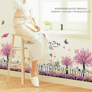 Pink flower pattern of wall stickers in the wall stick mobile household wall stick on the wall(China (Mainland))