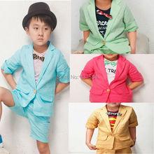 Hot retail children clothing set baby sets short Han edition boy pants suit coat shirt+pants 2pcs set clothes kids suit 2-6Years(China (Mainland))