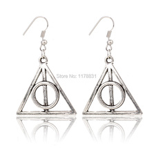 2015 Special Handmade Gift Jewelry Harry Potter and The Deathly Hallows Triangle Earings Retro Earrings For Women