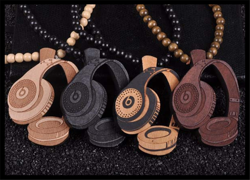 Fashion Hip Hop Wood Jewelry Pop Style Bead Chain Wooden Made Black Charm Hip Hop Necklace HIphop Headset Headphone Man Necklace(China (Mainland))