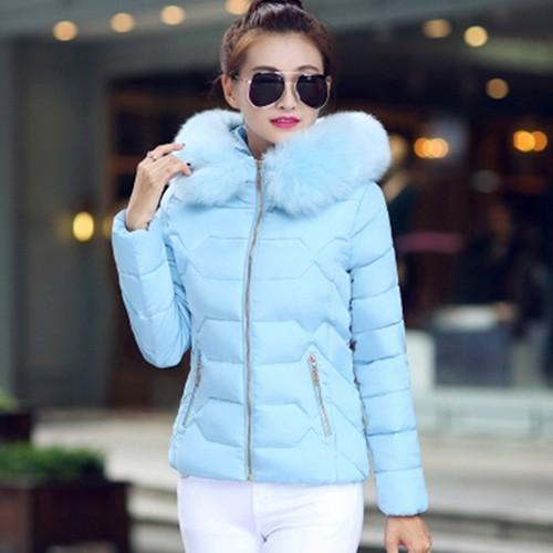 2016 Sonbahar ve Kış Ceket Kadın Ceket Parka Kürk Yaka Büyük Boy Kadın Aşağı Pamuk-yastıklı Ceket Ceket Şeker renkler Dış Giyim