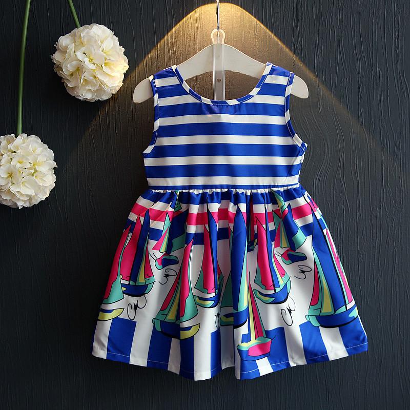 Girls Summer Dress 2016 Kids Dresses For Girls of 2-8 Years Sleeveless Printed Princess Dress Teenagers Girls Clothes(China (Mainland))
